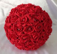 ARTIFICIAL FLOWERS RED / WHITE FOAM ROSE BRIDE DIAMANTE WEDDING BOUQUET POSIE